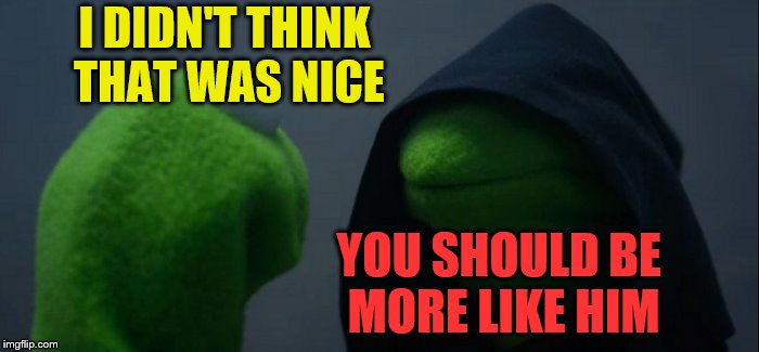 Evil Kermit Meme | I DIDN'T THINK THAT WAS NICE YOU SHOULD BE MORE LIKE HIM | image tagged in memes,evil kermit | made w/ Imgflip meme maker