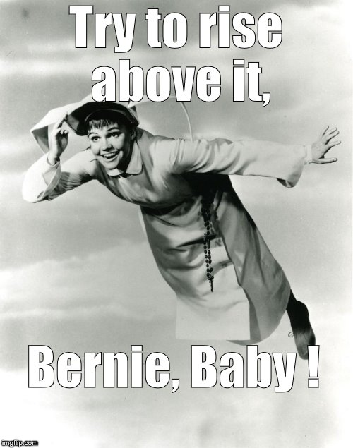 The Flying Nun | Try to rise above it, Bernie, Baby ! | image tagged in the flying nun | made w/ Imgflip meme maker