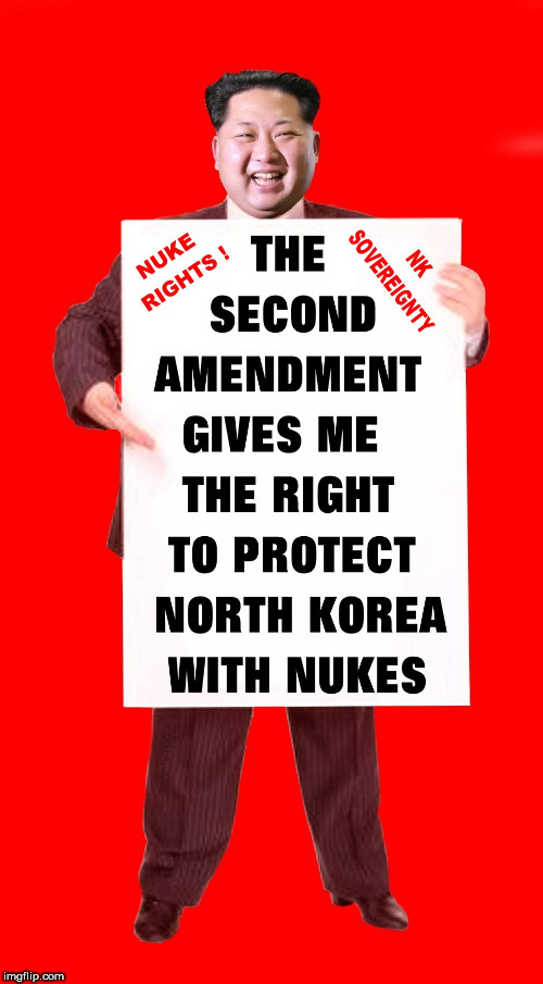 image tagged in nukes,kim jong un,north korea,gun rights,sovereignty,second amendment | made w/ Imgflip meme maker