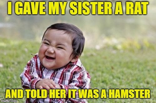 Evil Toddler Meme | I GAVE MY SISTER A RAT AND TOLD HER IT WAS A HAMSTER | image tagged in memes,evil toddler | made w/ Imgflip meme maker