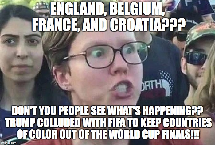 Triggered Liberal | ENGLAND, BELGIUM, FRANCE, AND CROATIA??? DON'T YOU PEOPLE SEE WHAT'S HAPPENING?? TRUMP COLLUDED WITH FIFA TO KEEP COUNTRIES OF COLOR OUT OF  | image tagged in triggered liberal | made w/ Imgflip meme maker