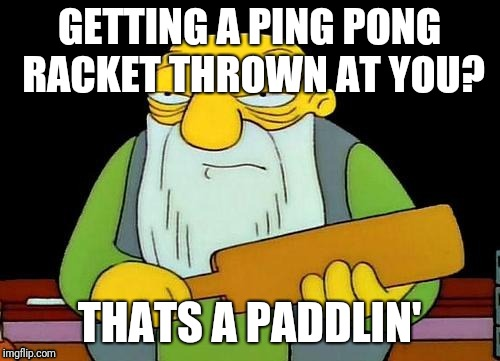GETTING A PING PONG RACKET THROWN AT YOU? THATS A PADDLIN' | made w/ Imgflip meme maker