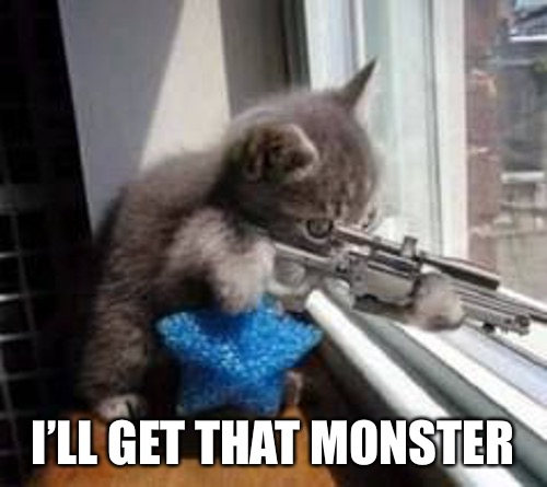 Sniper Cat (500px wide) | I'LL GET THAT MONSTER | image tagged in sniper cat 500px wide | made w/ Imgflip meme maker