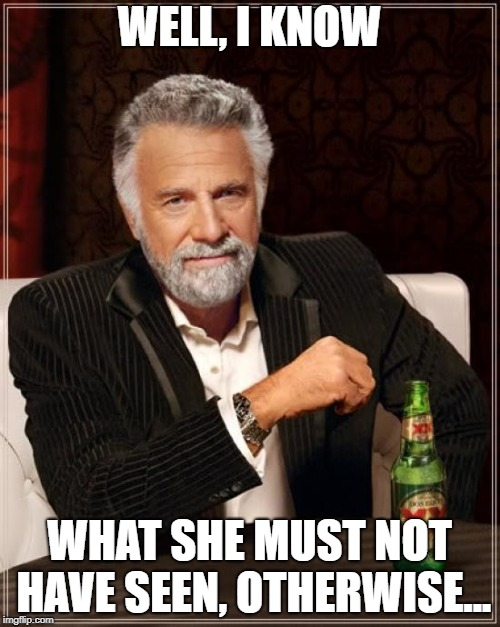 The Most Interesting Man In The World Meme | WELL, I KNOW WHAT SHE MUST NOT HAVE SEEN, OTHERWISE... | image tagged in memes,the most interesting man in the world | made w/ Imgflip meme maker
