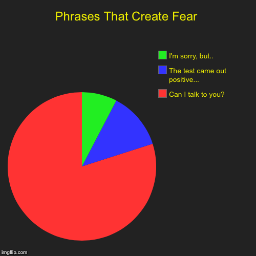 Phrases That Create Fear | Can I talk to you?, The test came out positive..., I'm sorry, but.. | image tagged in funny,pie charts | made w/ Imgflip pie chart maker