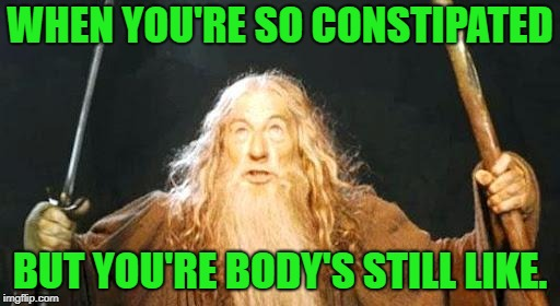 YOU SHALL NOT.... PASS!!! |  WHEN YOU'RE SO CONSTIPATED; BUT YOU'RE BODY'S STILL LIKE. | image tagged in gandalf you shall not pass,memes,first world problems,funny,funny memes | made w/ Imgflip meme maker
