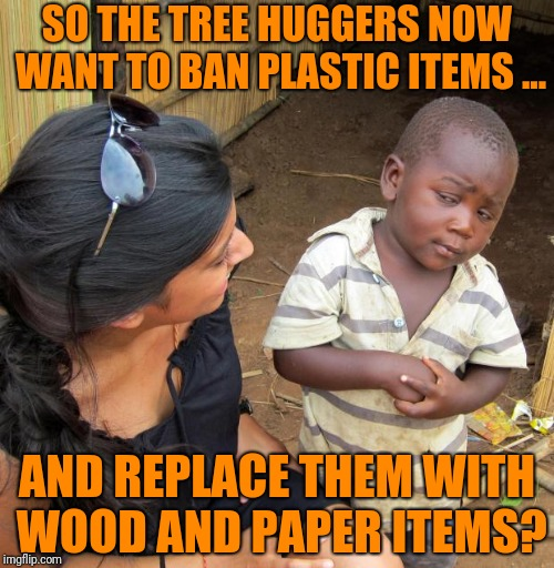Endless Solutions | SO THE TREE HUGGERS NOW WANT TO BAN PLASTIC ITEMS ... AND REPLACE THEM WITH WOOD AND PAPER ITEMS? | image tagged in 3rd world sceptical child | made w/ Imgflip meme maker