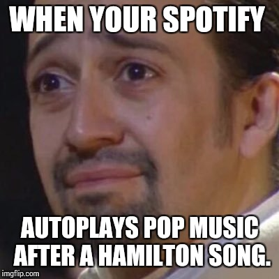 Sad Hamilton | WHEN YOUR SPOTIFY AUTOPLAYS POP MUSIC AFTER A HAMILTON SONG. | image tagged in sad hamilton | made w/ Imgflip meme maker