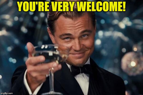 Leonardo Dicaprio Cheers Meme | YOU'RE VERY WELCOME! | image tagged in memes,leonardo dicaprio cheers | made w/ Imgflip meme maker