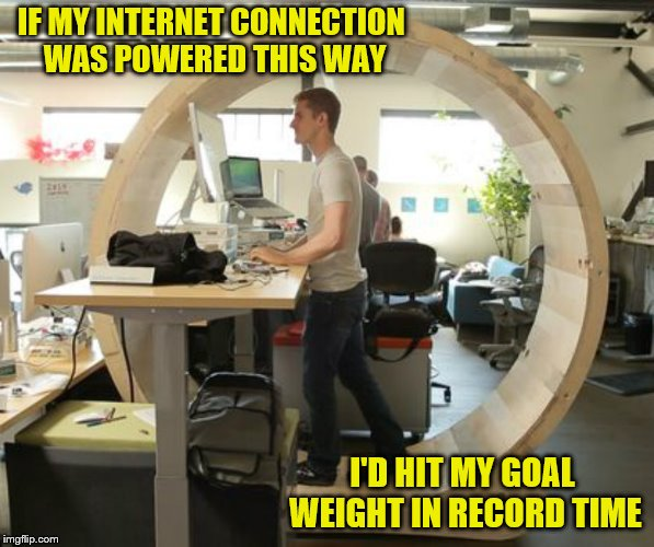 I'm exhausted just looking at the picture. | IF MY INTERNET CONNECTION WAS POWERED THIS WAY I'D HIT MY GOAL WEIGHT IN RECORD TIME | image tagged in hamster wheel desk,memes,weight loss,exercise,human-powered,hamster weekend | made w/ Imgflip meme maker