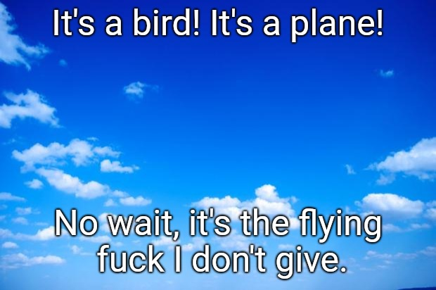 blue sky | It's a bird! It's a plane! No wait, it's the flying f**k I don't give. | image tagged in blue sky | made w/ Imgflip meme maker
