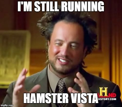 Ancient Aliens Meme | I'M STILL RUNNING HAMSTER VISTA | image tagged in memes,ancient aliens | made w/ Imgflip meme maker
