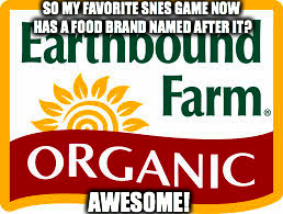 EarthBound Farm | SO MY FAVORITE SNES GAME NOW HAS A FOOD BRAND NAMED AFTER IT? AWESOME! | image tagged in earthbound farm | made w/ Imgflip meme maker