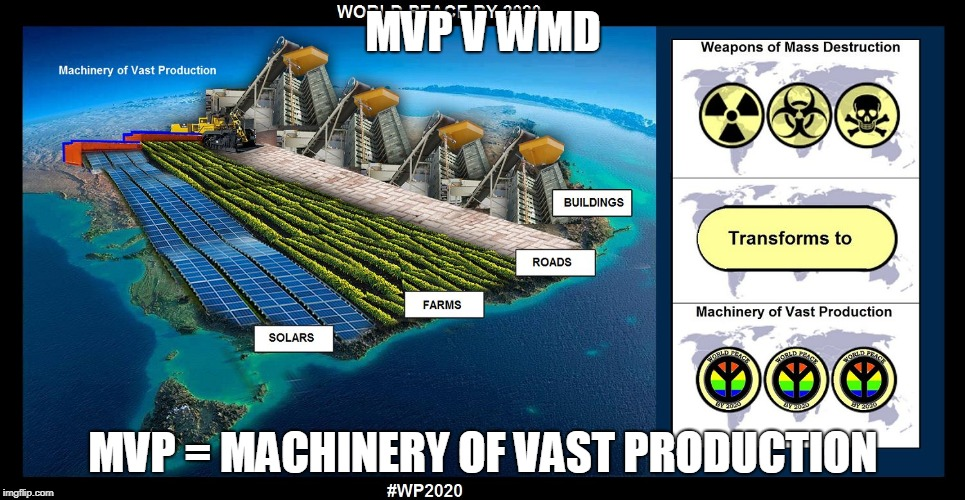 MVP V WMD MVP = MACHINERY OF VAST PRODUCTION | image tagged in world peace by 2020 | made w/ Imgflip meme maker