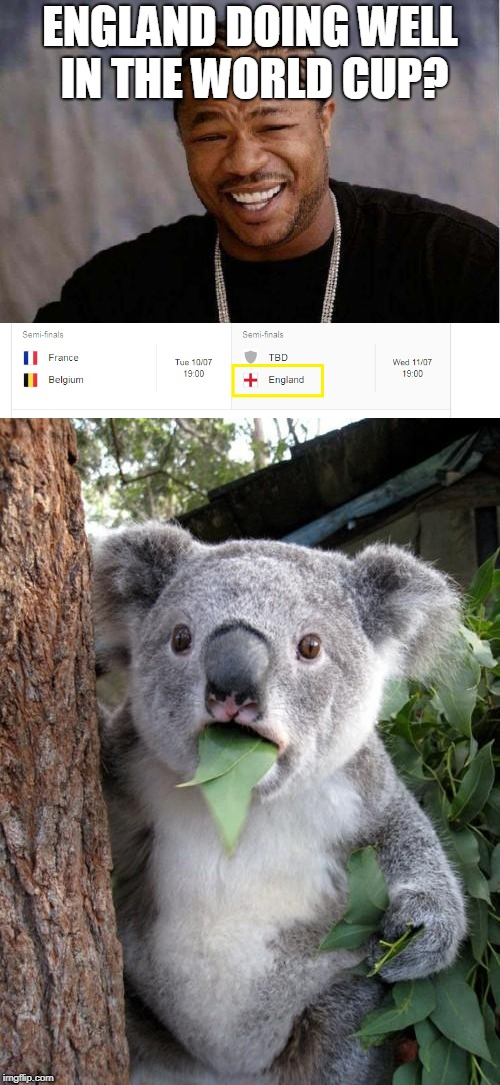 England in the Semis? | ENGLAND DOING WELL IN THE WORLD CUP? | image tagged in funny,memes,yo dawg heard you,surprised koala,world cup,england | made w/ Imgflip meme maker