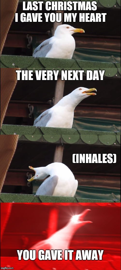 Inhaling Seagull Meme | LAST CHRISTMAS I GAVE YOU MY HEART THE VERY NEXT DAY (INHALES) YOU GAVE IT AWAY | image tagged in memes,inhaling seagull | made w/ Imgflip meme maker