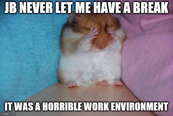 crying hamster | JB NEVER LET ME HAVE A BREAK IT WAS A HORRIBLE WORK ENVIRONMENT | image tagged in crying hamster | made w/ Imgflip meme maker