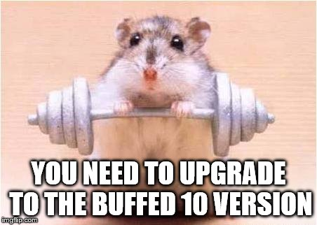 Power hamster | YOU NEED TO UPGRADE TO THE BUFFED 10 VERSION | image tagged in power hamster | made w/ Imgflip meme maker