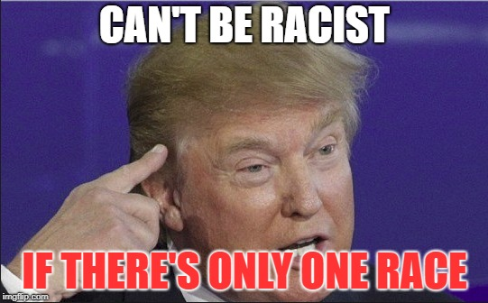 Donald Trump Roll Safe | CAN'T BE RACIST IF THERE'S ONLY ONE RACE | image tagged in donald trump,funny memes,racism | made w/ Imgflip meme maker