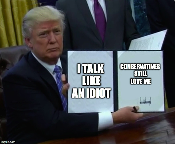 Trump Bill Signing Meme | I TALK LIKE AN IDIOT CONSERVATIVES STILL LOVE ME | image tagged in memes,trump bill signing | made w/ Imgflip meme maker