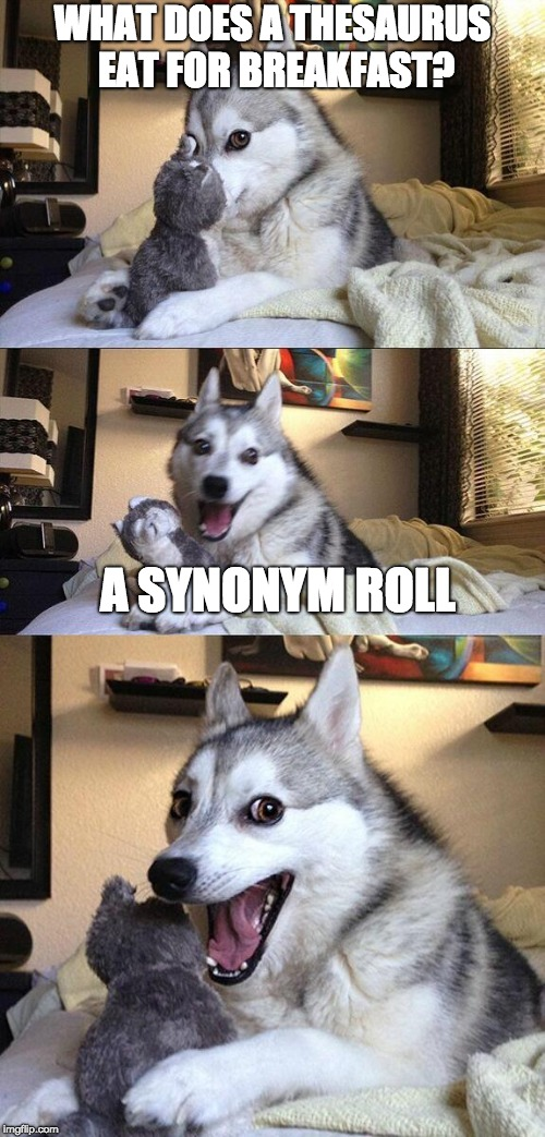 Breakfast of a Thesaurus | WHAT DOES A THESAURUS EAT FOR BREAKFAST? A SYNONYM ROLL | image tagged in bad pun dog | made w/ Imgflip meme maker