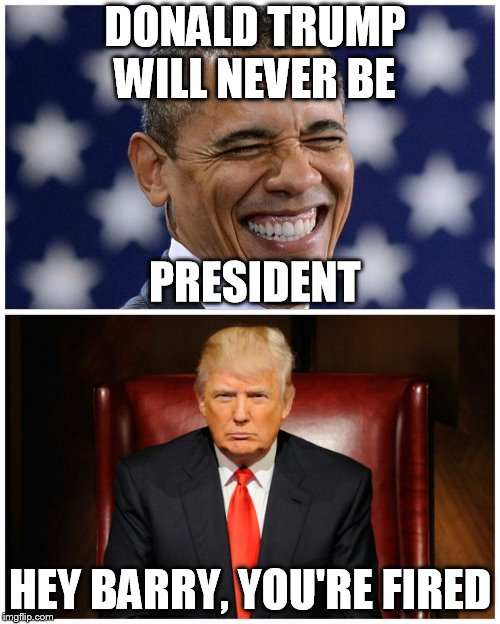 DONALD TRUMP WILL NEVER BE HEY BARRY, YOU'RE FIRED PRESIDENT | image tagged in trump obama narratives | made w/ Imgflip meme maker