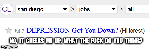 Craigslist Ad | NO,  IT  CHEERS  ME  UP,  WHAT  THE  F**K  DO  YOU  THINK? | image tagged in craigslist,depression,job ad | made w/ Imgflip meme maker
