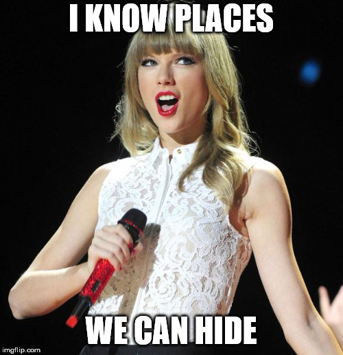 Taylor Swift | I KNOW PLACES WE CAN HIDE | image tagged in taylor swift | made w/ Imgflip meme maker
