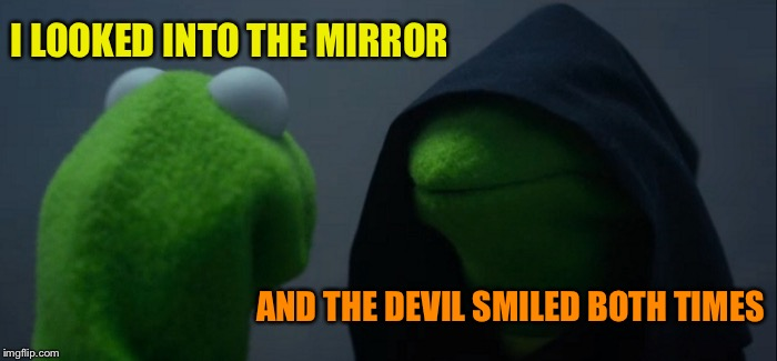 Evil Kermit Meme | I LOOKED INTO THE MIRROR AND THE DEVIL SMILED BOTH TIMES | image tagged in memes,evil kermit | made w/ Imgflip meme maker