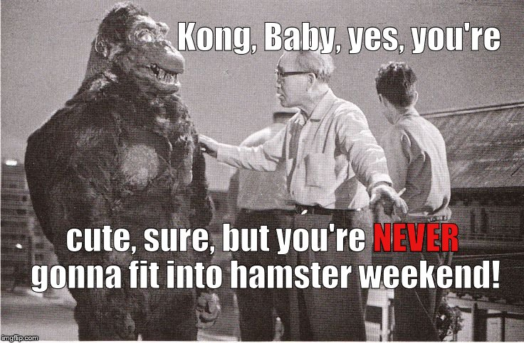 "Already stung by Toyota's rejection, Kong is upset over missing out on ""hamster weekend"" too. Is this any way to treat a King?   