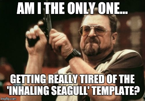 Am I the only one? | AM I THE ONLY ONE... GETTING REALLY TIRED OF THE 'INHALING SEAGULL' TEMPLATE? | image tagged in memes,am i the only one around here,inhaling seagull | made w/ Imgflip meme maker