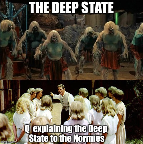 Don't be lunch for the Left | THE DEEP STATE Q  explaining the Deep State to the Normies | image tagged in time machine,deep state | made w/ Imgflip meme maker