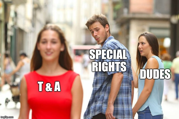 Distracted Boyfriend Meme | T & A SPECIAL RIGHTS DUDES | image tagged in memes,distracted boyfriend | made w/ Imgflip meme maker