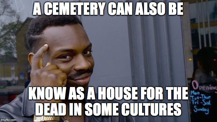 Roll Safe Think About It Meme | A CEMETERY CAN ALSO BE KNOW AS A HOUSE FOR THE DEAD IN SOME CULTURES | image tagged in memes,roll safe think about it | made w/ Imgflip meme maker