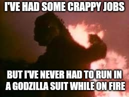 I'VE HAD SOME CRAPPY JOBS BUT I'VE NEVER HAD TO RUN IN A GODZILLA SUIT WHILE ON FIRE | image tagged in godzilla,fire,job | made w/ Imgflip meme maker