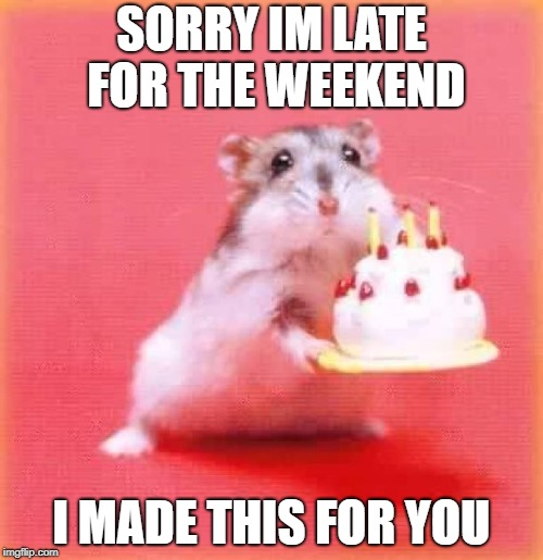 birthday hamster | SORRY IM LATE FOR THE WEEKEND I MADE THIS FOR YOU | image tagged in birthday hamster | made w/ Imgflip meme maker
