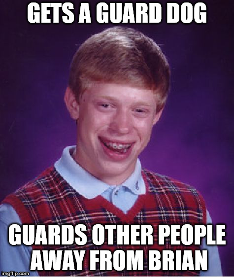 Bad Luck Brian Meme | GETS A GUARD DOG GUARDS OTHER PEOPLE AWAY FROM BRIAN | image tagged in memes,bad luck brian | made w/ Imgflip meme maker