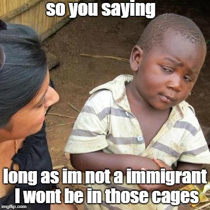 Third World Skeptical Kid Meme | so you saying long as im not a immigrant I wont be in those cages | image tagged in memes,third world skeptical kid | made w/ Imgflip meme maker