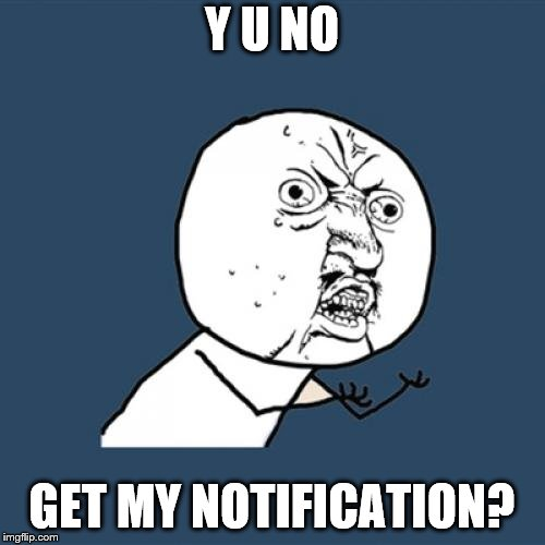 Y U No Meme | Y U NO GET MY NOTIFICATION? | image tagged in memes,y u no | made w/ Imgflip meme maker