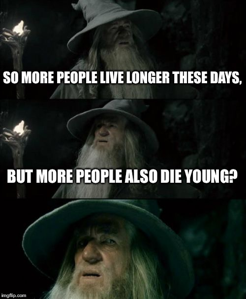 Confused Gandalf Meme | SO MORE PEOPLE LIVE LONGER THESE DAYS, BUT MORE PEOPLE ALSO DIE YOUNG? | image tagged in memes,confused gandalf | made w/ Imgflip meme maker