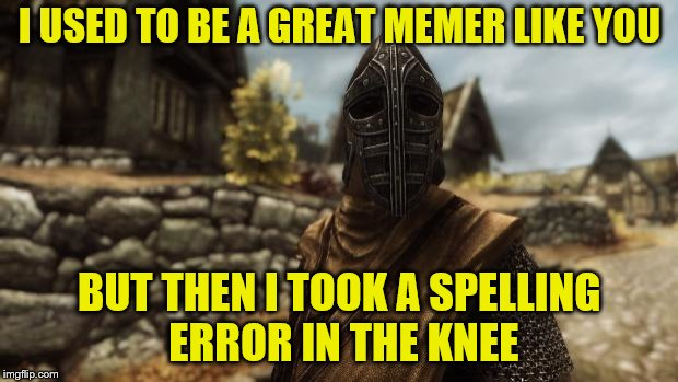 I used to be an adventurer like you | I USED TO BE A GREAT MEMER LIKE YOU BUT THEN I TOOK A SPELLING ERROR IN THE KNEE | image tagged in i used to be an adventurer like you | made w/ Imgflip meme maker