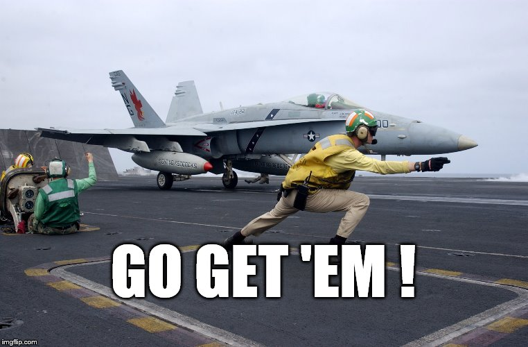 launch | GO GET 'EM ! | image tagged in launch | made w/ Imgflip meme maker