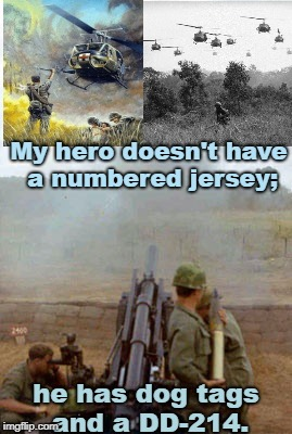 My hero doesn't have a numbered jersey; he has dog tags and a DD-214. | image tagged in veterans | made w/ Imgflip meme maker