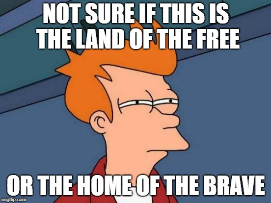 Merica | NOT SURE IF THIS IS THE LAND OF THE FREE OR THE HOME OF THE BRAVE | image tagged in memes,futurama fry | made w/ Imgflip meme maker