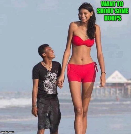 want to shoot some hoops | WANT TO SHOOT SOME HOOPS | image tagged in tall woman,short guy | made w/ Imgflip meme maker