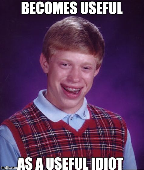 Bad Luck Brian Meme | BECOMES USEFUL AS A USEFUL IDIOT | image tagged in memes,bad luck brian | made w/ Imgflip meme maker