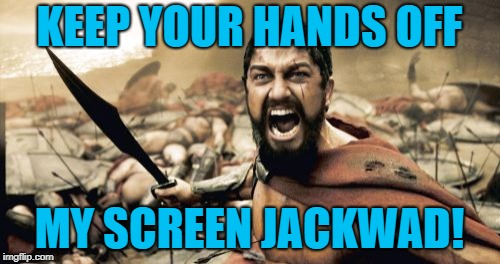 Sparta Leonidas Meme | KEEP YOUR HANDS OFF MY SCREEN JACKWAD! | image tagged in memes,sparta leonidas | made w/ Imgflip meme maker