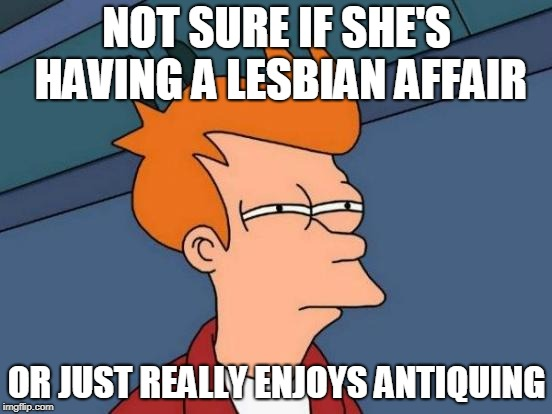 Futurama Fry Meme | NOT SURE IF SHE'S HAVING A LESBIAN AFFAIR OR JUST REALLY ENJOYS ANTIQUING | image tagged in memes,futurama fry,AdviceAnimals | made w/ Imgflip meme maker