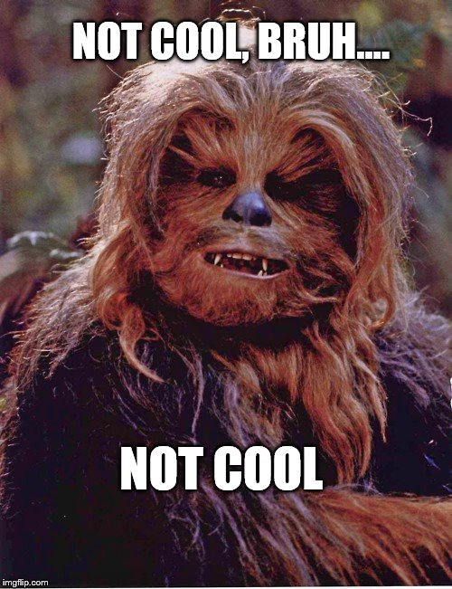 Chewbacca | NOT COOL, BRUH.... NOT COOL | image tagged in chewbacca | made w/ Imgflip meme maker