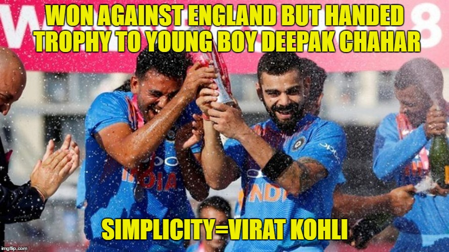 WON AGAINST ENGLAND BUT HANDED TROPHY TO YOUNG BOY DEEPAK CHAHAR SIMPLICITY=VIRAT KOHLI | image tagged in fox news | made w/ Imgflip meme maker